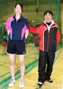高校3年でU―19日本代表入りした松本(左)を激励する妹尾監督
