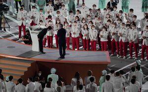 挨拶する東京オリンピック・パラリンピック大会組織委員会の橋本聖子会長(左)(右はIOCのトーマス・バッハ会長)(カメラ・矢口 亨)