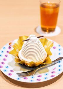 藤井聡太二冠が注文したプレミアムモンブランとアイスコーヒー(日本将棋連盟提供)