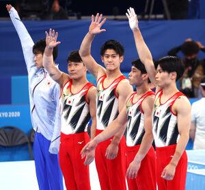 体操男子団体(ロイター)