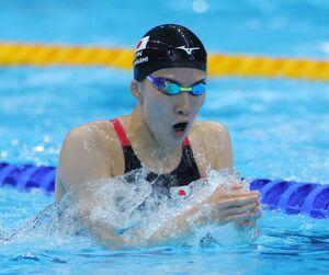 準決勝の女子200m個人メドレー 力泳する大橋悠依(カメラ・竜田 卓)