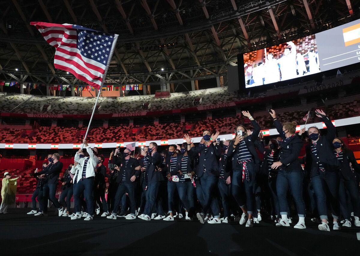 東京五輪開会式 入場する米国の選手たち(代表撮影)