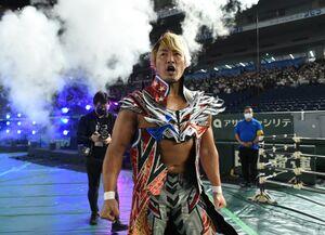 新型コロナ禍の中、行われた東京ドーム大会のメインイベントに緊急出場。激闘を見せた棚橋弘至(新日本プロレス提供)
