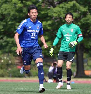 横浜FM加入内定が決まった関東学院大のFW村上悠緋(左)