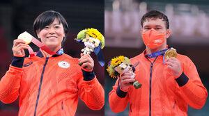 金メダルを手に笑顔を見せる浜田尚里とウルフ・アロン