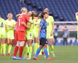 準々決勝でスウェーデンに破れ涙を流す田中美南