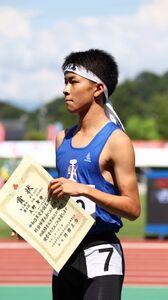 男子800メートルで4位に入った秋田工・大野聖登