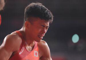 ルイスアルベルト・オルタサンチェスに敗れて銀メダル。涙を流す文田健一郎(カメラ・相川 和寛)