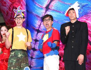 イベントに出席した(左から)こがけん、おいでやす小田、もう中学生