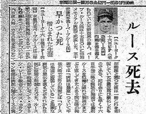 1948年8月18日付報知新聞に掲載されたルース死去の記事