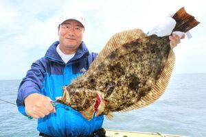 飯岡沖で釣れた3キロ超のヒラメ。外房では9月も数釣り、大型狙いともに有望だ