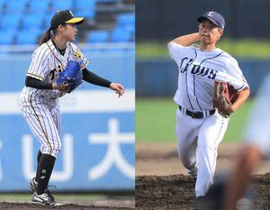 阪神・植村美奈子(左)と西武・里綾実