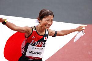 女子マラソン(視覚障害T12)で優勝した道下美里(ロイター)