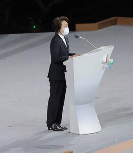 閉会式でスピーチする橋本聖子会長(カメラ・相川 和寛)