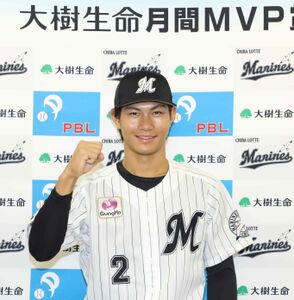 7、8月度大樹生命月間MVPを初受賞したロッテ・藤原恭大