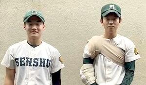 先制2ランを放った松本(左)と3安打完封勝利を挙げた山登