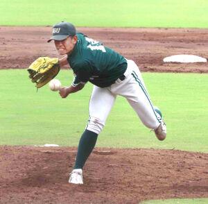 神戸学院大・森岡大輔はリーグ戦初勝利を完封で飾った
