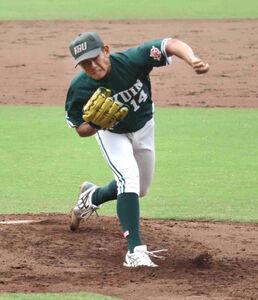 2戦連続完封勝利を収めた神戸学院大の森岡大輔投手