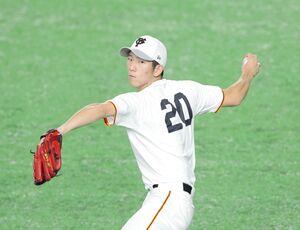 キャッチボールをする戸郷翔征(カメラ・中島 傑)