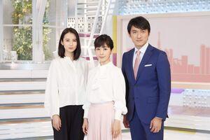 テレビ朝日系「スーパーJチャンネル」に出演する(左から)森川夕貴アナ、松尾由美子アナ、小松靖アナ