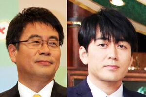「報道ステーション」のメインキャスターを務める大越健介氏(左)と「THE TIME,」で総合司会を務める安住紳一郎アナウンサー