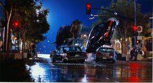 米サンディエゴの街をかっ歩するティラノサウルス(C)1996 Universal City Studios,Inc.&Amblin Entertainment,Inc.All Rights Reserved.