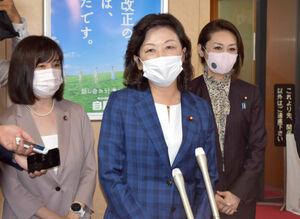 自民党本部で総裁選への出馬表明をした野田聖子氏