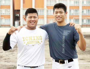 3球団と面談した市和歌山の小園健太(右)と松川虎生(左)