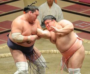 宇良(右)の攻めに苦戦した照ノ富士