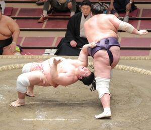 上手投げで宇良(左)を下した照ノ富士