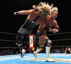 難敵・EVILをレインメーカーで葬り、G1開幕2連勝を飾ったオカダ・カズチカ(新日本プロレス提供)