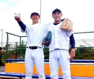 7季連続リーグ制覇へ意気込む東北福祉大の椋木(左)と三浦