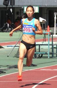 全日本実業団対抗選手権100メートル予選で5組2着に入った日本記録保持者の福島千里