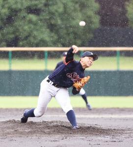 強雨の中、6回1失点の好投を見せた静岡大・石田